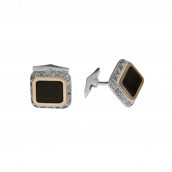Серебряные запонки Пигмалион с золотой накладкой и черным ониксом