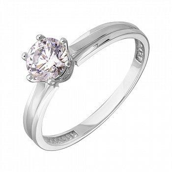 Золотое кольцо в белом цвете с цирконием Swarovski 000036703