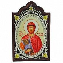 Серебряная икона с фианитами Святой Благоверный князь Александр Невский