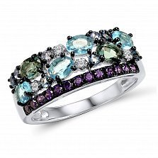 Кольцо из белого золота Время с голубым топазом, аметистом и бриллиантами