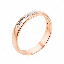 Золотое обручальное кольцо Дорога любви в красном цвете с бриллиантами