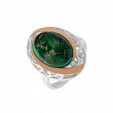 Серебряное кольцо Симона с синтезированным зеленым опалом и фианитами