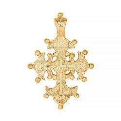 Серебряный крестик Храни тебя Господь с позолотой 000087908