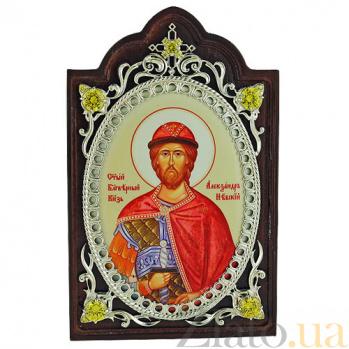 Серебряная икона с фианитами Святой Благоверный князь Александр Невский 2.78.0621