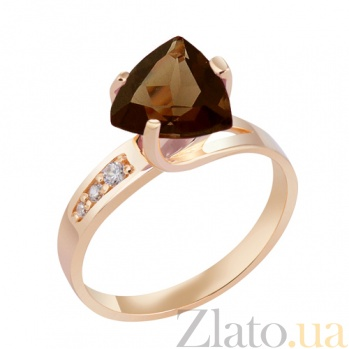 Кольцо в красном золоте Марта с раухтопазом и фианитами 000023487