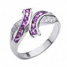 Серебряное кольцо Арника с аметистами и фианитами