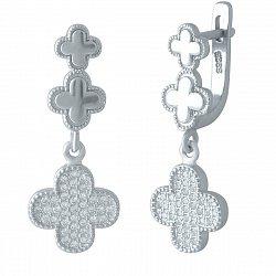 Серебряные серьги-подвески Чарующий клевер с фианитами в стиле Ван Клиф