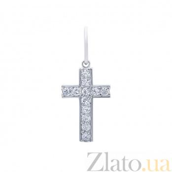 Серебряный крестик с фианитами Яркий акцент AQA-3394