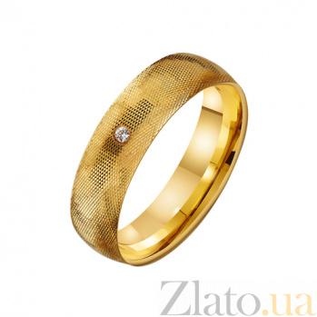 Золотое обручальное кольцо с цирконием Солнце любви TRF--432249