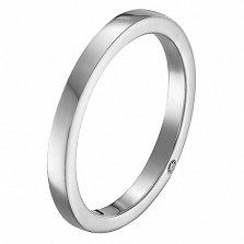 Обручальное кольцо Добро в белом золоте с фианитом