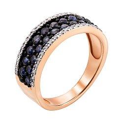 Кольцо из красного золота с сапфирами, бриллиантами и родированием 000137914