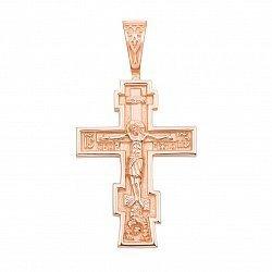 Крест из красного золота с молитвой на тыльной стороне 000134008