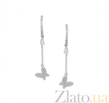 Серебряные серьги-подвески Психея с фианитами 000081900