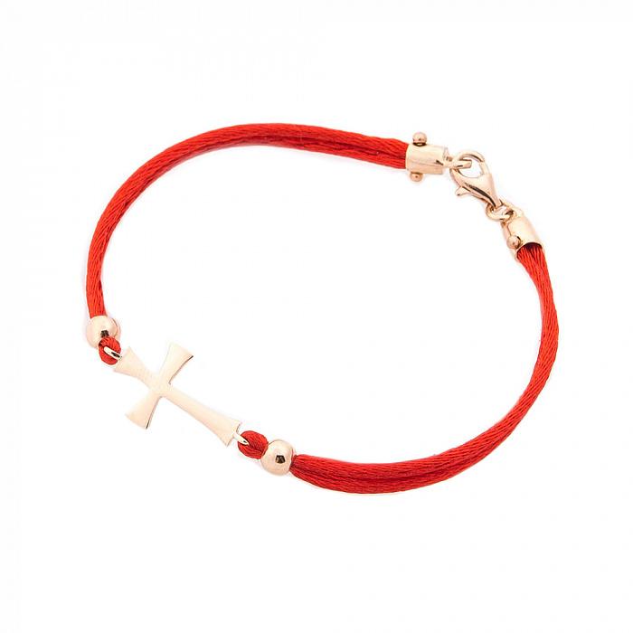 Золотой браслет с красной нитью Символ жизни 000082254
