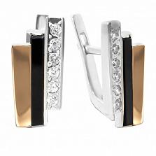 Серебряные серьги Сара с золотыми вставками, ониксом и фианитами