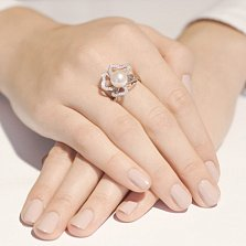Кольцо из белого золота с жемчугом Фиалка