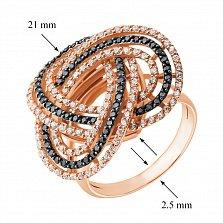 Золотое кольцо Фейерверк в комбинированном цвете с коньячными и белыми фианитами