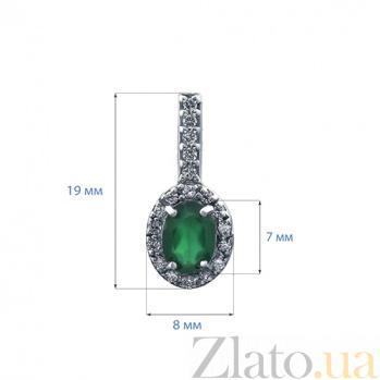 Серьги серебряные с зеленым агатом и цирконами Клеопатра AQA--E00954Ag
