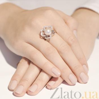 Кольцо из белого золота с жемчугом Фиалка SG--11330801