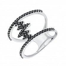 Серебряное кольцо Молния с черными фианитами