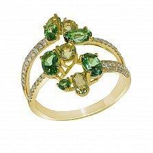 Кольцо из желтого золота Брианна с бриллиантами и топазами
