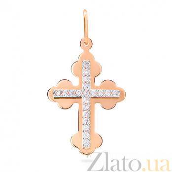 Золотой крестик с фианитами Свет любви SUF--545700