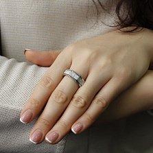 Золотое кольцо Многогранник в белом цвете с бриллиантами