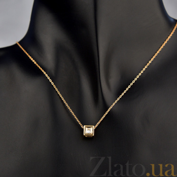 Подвес в красном золоте Элизабет с бриллиантом огранки Принцесса 000079219