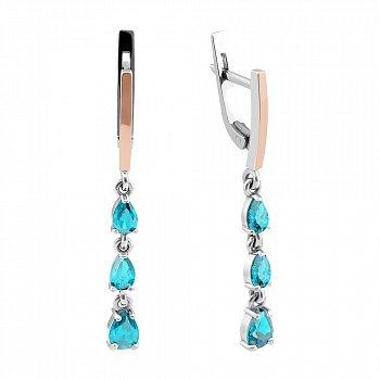 Серебряные серьги-подвески с золотыми накладками, голубым альпинитом и родием 000096952