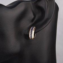 Золотые серьги Нелли в комбинированном цвете с сапфирами и бриллиантами