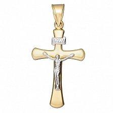 Крестик Спаситель в желтом и белом золоте