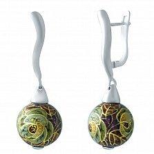 Серебряные серьги-подвески Вальс цветов с эмалью