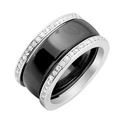 Серебряное разборное кольцо Trendy Choice с черной керамикой и завальцованными фианитами 000052174