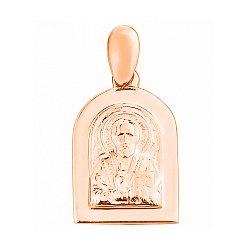 Золотая ладанка Святой Николай в красном цвете 000103505