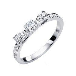Золотое кольцо в белом цвете с бриллиантами, 0,32ct 000070582