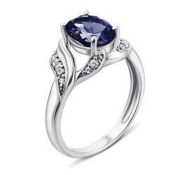 Серебряное кольцо с гидротермальным сапфиром и фианитами 000137455