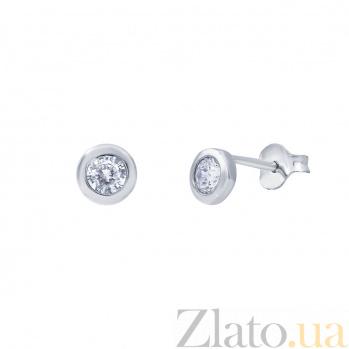 Серебряные серьги Орли с цирконием AQA--2200628