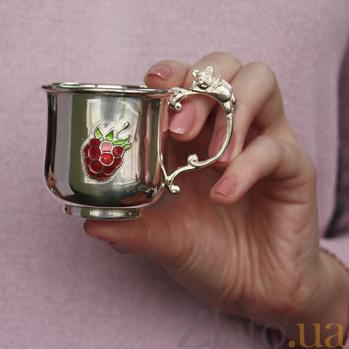 Детская серебряная кружка Мишка с малиной 2.8.0193