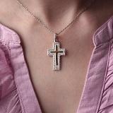 Серебряный крест Алуа с золотой вставкой и фианитами