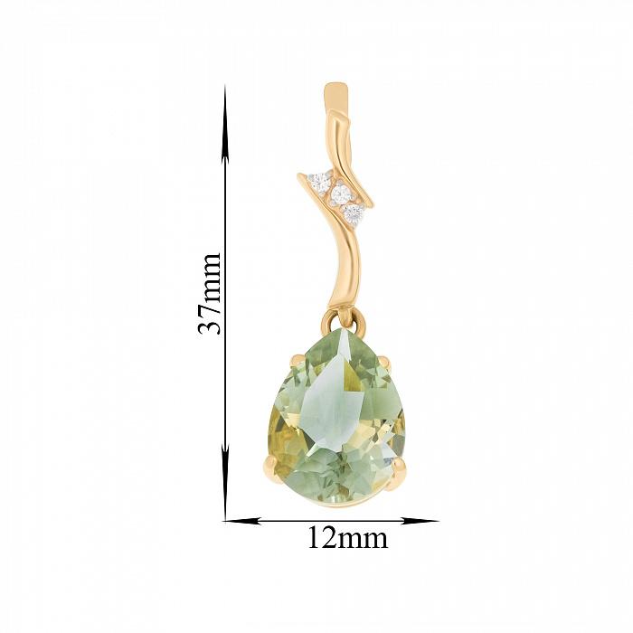 Золотые серьги-подвески Лорена с зеленым аметистом и фианитами 000096302
