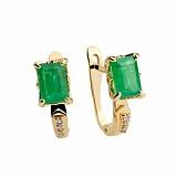 Золотые серьги с изумрудами и бриллиантами Талия