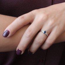 Серебряное кольцо Нюша с сапфиром и фианитами