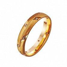 Золотое обручальное кольцо Ты мой ангел с фианитами