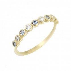 Кольцо из желтого золота Атмосфера с голубым кварцем и фианитами