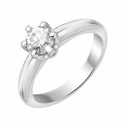 Золотое помолвочное кольцо в белом цвете с бриллиантом 000114274
