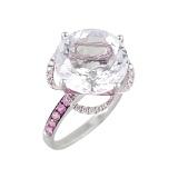 Золотое кольцо с аметистом, розовыми сапфирами и бриллиантами Лотос