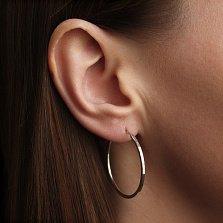 Серебряные серьги-конго Магический круг с алмазной гранью, 3,5см