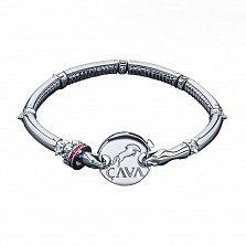 Серебряный браслет Две змеи с эмалью и нанокристаллами зеленого цвета