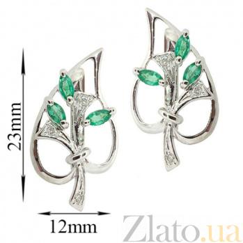 Золотые серьги с бриллиантами и изумрудами Диля ZMX--EE-6286w_K
