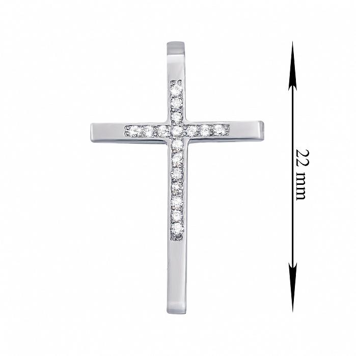 Крестик с бриллиантами в белом цвете золота 000104127 000104127